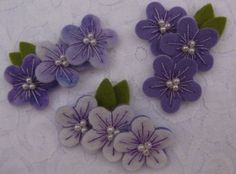 flowers - double layered made from woolfelt - hand embroidered with pearls