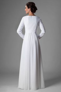 Most Famous Wedding Dress Awesome Discount Simple White Chiffon Temple Long Sleeves Wedding Dresses Sleeves A Line Floor Length Informal Reception Bridal Gowns Rehearsal Dinner Dress Famous Wedding Dresses, Modest Wedding Dresses, Nice Dresses, Dresses With Sleeves, Prom Dresses, Wedding Dress Necklines, Necklines For Dresses, Wedding Dress Sleeves, White Rehearsal Dinner Dress