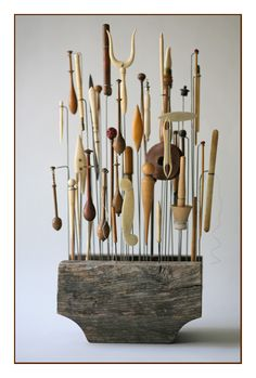 Antique Scandinavian sewing and tatting implements, mounted for display by Curtis Steiner
