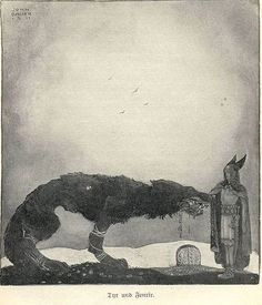 John Bauer - Tyr and Fenrir  According to the Poetic Edda and Prose Edda, at one stage the gods decided to shackle the Fenris wolf (Fenrir), but the beast broke every chain they put upon him. Eventually they had the dwarves make them a magical ribbon called Gleipnir. It appeared to be only a silken ribbon but was made of six wondrous ingredients: the sound of a cat's footfall, the beard of a woman, the roots of a mountain, bear's sinews (meaning nerves, sensibility), fish's brea