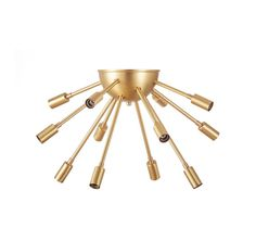 Vintage inspired 12 light real brass sputnik flush mount ready to hang in your bedroom, living room, dining room, game room, laundry room, hall, or foyer. Fixture delivers complete with mounting hardware. Diameter 20 without bulbs Measures 12-13 down from the ceiling (measured to bottom of fixture not including bulbs) 6canopy Multiple length arms  =====================================================  Timing:  Our fixtures are made to order, and we our production time is currently at 4…