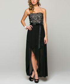 La Scala Black & Pink Chiffon-Skirt Hi-Low Dress | zulily