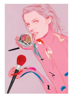 Jo Ratcliffe illustrates iconic models for a summer beauty round-up in the new issue of V Magazine .... Stephanie Seymour, Lindsey Wixson, Linda Evangelista, Daphne Groeneveld, Eva Herzigova and Naomi Campbell get creative with cosmetics from Clarins, Lancome, Estée Lauder, M.A.C, Smashbox and Dior ... #fashion #photography