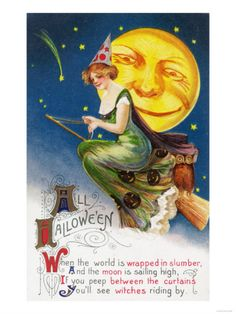 All Halloween Witch on a Broom by Full Moon Scene Premium Poster