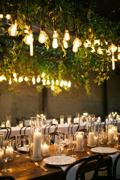 Greenery Wedding Ideas That Are Actually Gorgeous---Hanging Greenery and bulbs chandeliers wedding centerpieces, spring or summer weddings, garden wedding theme, Fall Mountain Wedding Simple Wedding Decorations, Wedding Table Centerpieces, Wedding Ideas, Trendy Wedding, Rustic Candle Centerpieces, Votive Candles, Elegant Wedding, Rustic Wedding, Wedding Photos