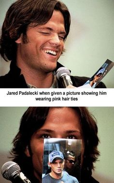 Jared Padalecki and pink hair ties. Love his face when he sees the pic