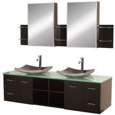 Wyndham Collection Avara 72-inch Espresso Double Bathroom Vanity Set (WC-WHE007-72E-TG-BGS), Brown