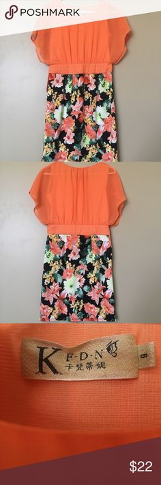 Orange Day Dress Go from day to night with this gorgeous sunrise colored dress that's sure to turn heads. Pair with a thick brown belt or throw on a light blazer to change up the outfit! Asian size 6, fits like US S or XS. Material: Top Shell: 100% Polyester. Bottom skirt: 92% Polyester, 8% Spandex. Has side zipper. Worn only a few times and in excellent condition. Dresses