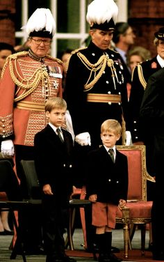 June 29, 1989: Prince William And Prince Harry Watching The Beating Retreat Parade At The Orangery, Kensington Palace.