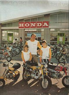 Little Honda Bikes 1972 Ad Mini Motorbike, Bobber Motorcycle, Mini Bike, Classic Honda Motorcycles, Vintage Motorcycles, Vintage Motocross, Honda Dirt Bike, Honda Bikes, Honda Cub