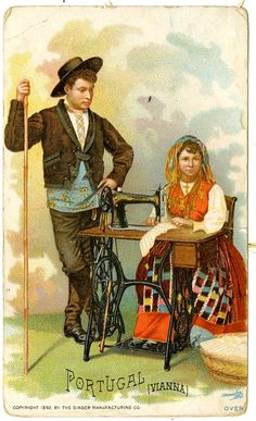 Singer Sewing Machine's World, 1892,Portugal Trade Card