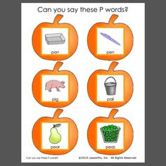 Great for articulation practice or letter of the week. Phonemic Awareness Activities, P Words, Letter Of The Week, Early Intervention, Veterans Day, Autumn Theme, Speech Therapy, Teaching Ideas, Templates