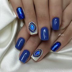Nails, blue, beaded - Beautiful nails 2016, , Bright- blue nails, Evening dress nails