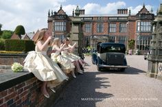 Bridesmaids outside Arley Hall