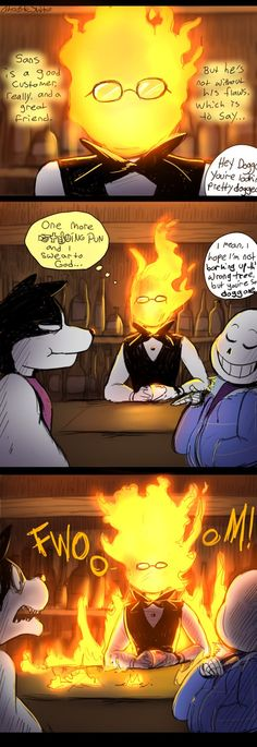 Commission Info|Ask Comic Index|Fanbook|Tumblr|Patreon Grillby may be a monster of few words, but he sure knows how to get his point across! Yikes! I...