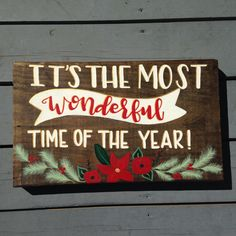 Christmas Sign, It's the Most Wonderful Time of the Year, Hand Painted Holiday Decor, Christmas Floral Wood Sign, Red White and Gold Decor by IvyandOrchid on Etsy
