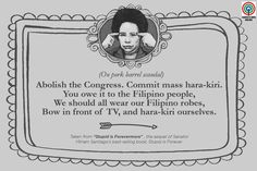 'Stupid is Forevermore': 15 Miriam Santiago quotes that will make you think and laugh Filipino Funny, Filipino Quotes, Pinoy Quotes, Tagalog Love Quotes, Hugot Lines Tagalog Funny, Tagalog Quotes Hugot Funny, Hugot Quotes, Bisaya Quotes, Quotes Thoughts