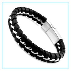 Unique Designer 316L Stainless Steel Bracelets & Bangles Mens Gift Black Leather Knitted Magnetic Clasp Bracelet Men Jewelry