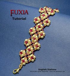 Tutorial Fuxia Bracelet Instant download PDF by FucsiaStyle Seed beads 15/0, 11/0 Swarovski bicone 3mm, 4mm Round pearls 4mm