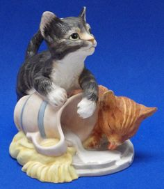 "Franklin Mint "" Mischief Cats "" Porcelain Figurine by Gail FERRETTI w COA 