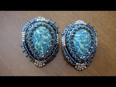 *My FAV girl for tutorial videos  Beaded Embroidery Earrings: Post earrings with teardrop polymer clay cabochons | Beaded Jewelry
