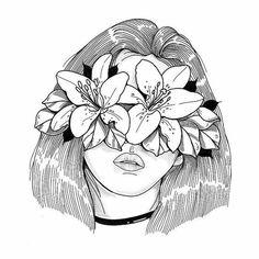 48 Ideas For Flores Wallpaper Desenho Pencil Art Drawings, Art Drawings Sketches, Easy Drawings, Drawing Lips, Tattoo Drawings, Aesthetic Art, Art Sketchbook, Doodle Art, Drawing People