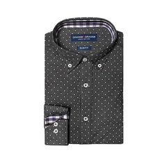 Men's Microdot with  Dot Print Shirt Black 18-. / 36-37- Graham &... ($12) ❤ liked on Polyvore featuring men's fashion, men's clothing, men's shirts, men's casual shirts, black, men's apparel and mens clothing