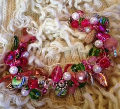 Unique Hand Knit Czech Glass Pearl & Crystal by TwinklingOfAnEye, $42.00