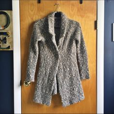 """Heavy sweater cardigan with single button clasp Thick collard sweater/cardigan. Has one jeweled clasp. Multicolored with flecks of cream, tan, and browns. Very warm and comfortable ☺️.  32"""" from top to bottom Fenn Wright Manson Sweaters Cardigans"""