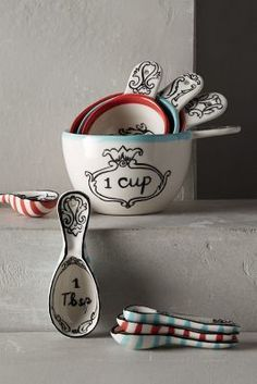 Pretty measuring cups - these would make the perfect hostess gift!!