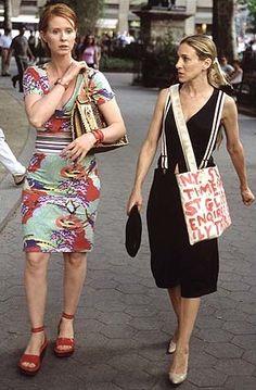 Sex and the City Season 4 Carrie Bradshaw (Sarah Jessica Parker) & Miranda Hobbes (Cynthia Nixon) Image Source: HBO