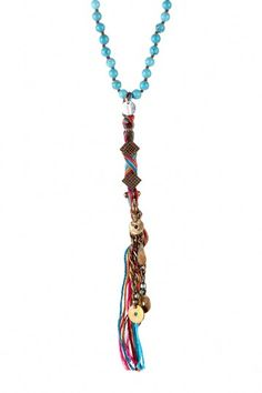 Turquoise Beaded & Multicolor Braided Thread Drop Necklace by Chan Luu on @HauteLook