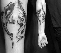 Inner Forearm Sketched Watercolor Masculine Yin Yang Koi Fish Tattoos For Men
