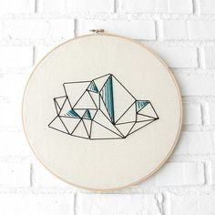 Large Embroidery Blue Faceted Geode on Canvas. Art Hoop – Midwinter Co.