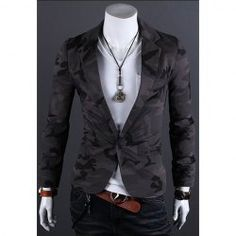 $19.50 Fashion Style Camo Army A ButtonSmall Suits Fitting  Polyester Blazer For Men