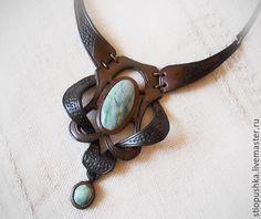 Купить Колье из кожи Гламур с натуральными камнями - коричневый, колье, Кожаное колье, колье из кожи