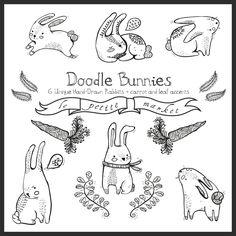 Doodly Cute Bunny Graphics Digital Rabbits and Digital