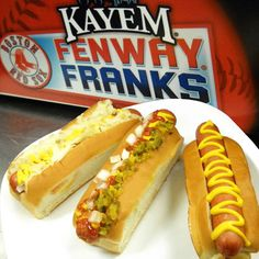 Stadium: Fenway Park Why It's a Hit: Homegrown frank. Local purveyor Kayem has been making its beef hot dogs in Chelsea, Massachusetts, since 1909. The snappy franks are steamed, grilled or rolled and then wedged inside a classic New England-style bun (crustless on the sides with a split top). Fun Fact: Fenway is the first MLB ballpark to install a Hot Nosh Glatt Kosher hot dog vending machine.   - Delish.com