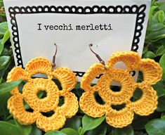 Crochet flower earrings: handmade by I Vecchi Merletti (INFO: https://www.facebook.com/ivecchimerletti?fref=ts)
