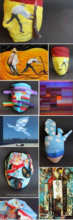 High School Art lesson// George Segal inspired ART HISTORY research masks // Art I