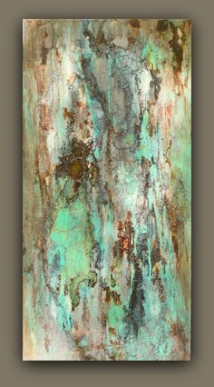 ***HOLD for Allyson-- Sea Storm This is an original abstract acrylic painting on 12 X 24 canvas by Amy Neal Art Studio. Mixed media produces signature distressing and texture. Tones of metallic turquoise, black, champagne, and sepia remind me of a storm brewing at sea. Sides painted black, ready to hang or frame. Sealed with protective gloss varnish. Signed and dated on back. Visit me on FB: www.facebook.com/Amy-Neal-Art-Studio Thanks for supporting my passjon