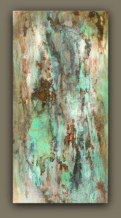 "Original Abstract Texture Wall Art  Acrylic 12 X 24 Painting ""Sea Storm"""