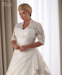 Wholesale hot sale preferred lace plus size wedding dresses plus size bridal gowns with elbow sleeves W1129, Free shipping, $181.44-199.36/Piece | DHgate