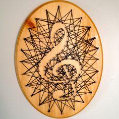 Treble Clef String Art - Black Thread on Finished Wood on Etsy, $17.50