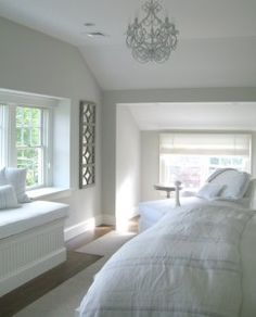 Wall and Trim Paint Color. Wall Paint Color is Benjamin Moore Light Pewter 1464 Trim Paint Color is Benjamin Moore White Dove Attic Bedroom # White Decor, Wall Paint Colors, Beautiful Bedrooms, Interior, Home Bedroom, Coastal Interiors, Home Decor, House Interior, Interior Design