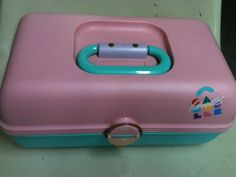 Vintage 1980s Caboodles Makeup Cosmetic Case Pink and Green w/ Mirror