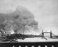 Fires over the East End and the Docks seen from the the London Bridge, 7 September 1940