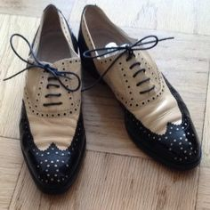 Chanel Beige And Black Oxford Flats $402