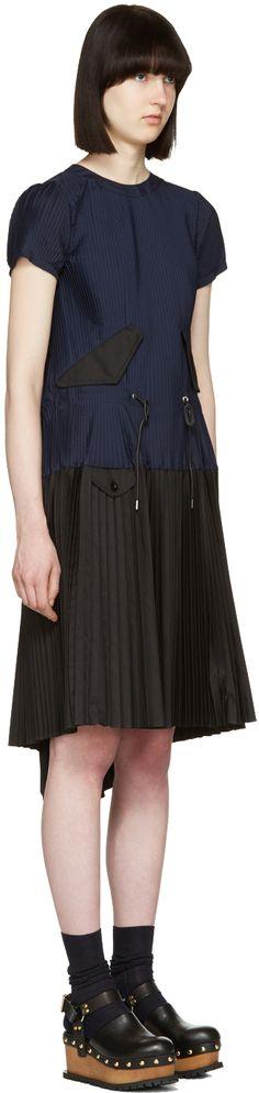 Sacai: Navy Pleated Toggle Dress | SSENSE