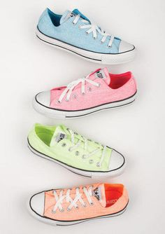 Find Girls Clothing and Teen Fashion Clothing from dELiA*s, converse all star Converse All Star, Mode Converse, Colored Converse, Converse Shoes, Converse Chuck Taylor, Pastel Converse, Neon Vans, Cheap Converse, Neon Shoes